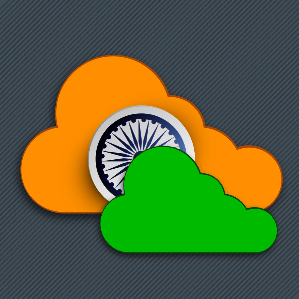 Indian Independence Day Background With Ashoka Wheel And Clouds In Saffron And Green Color