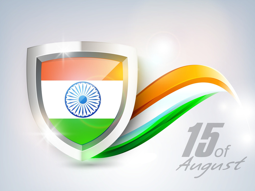 Indian Independence Day Background With National Flag