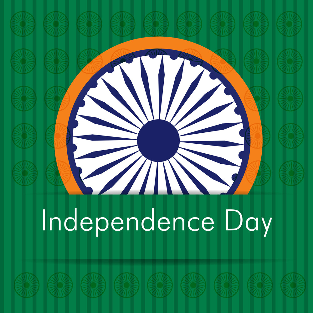 Indian Independence Day Sticker With Asoka Wheel.