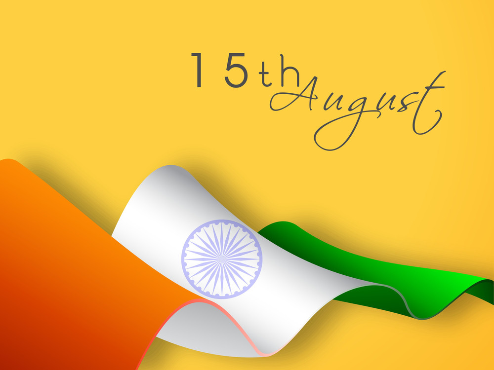 Indian National Flag Wave With Text 15th August On Yellow Background