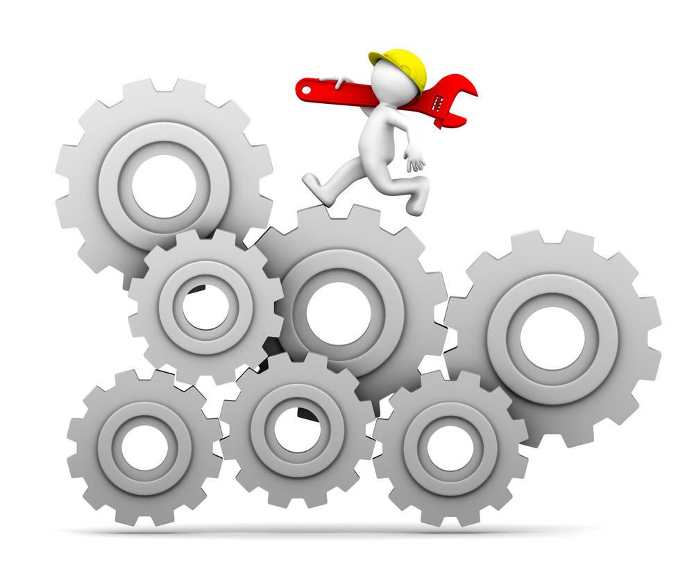 Industrial Worker Running Up A Gear Mechanism