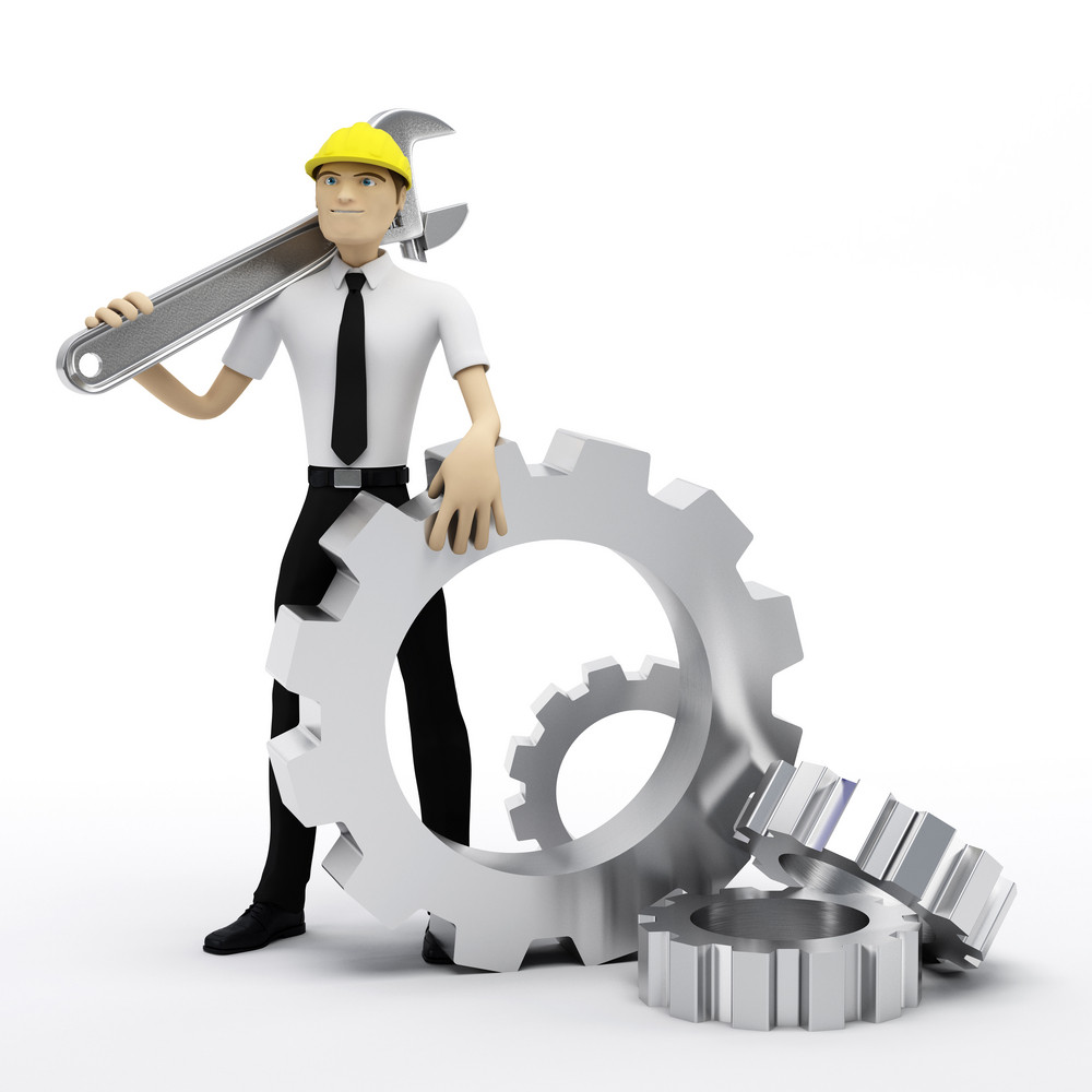 Industrial Worker With Wrench And Gears. Conceptual Illustration