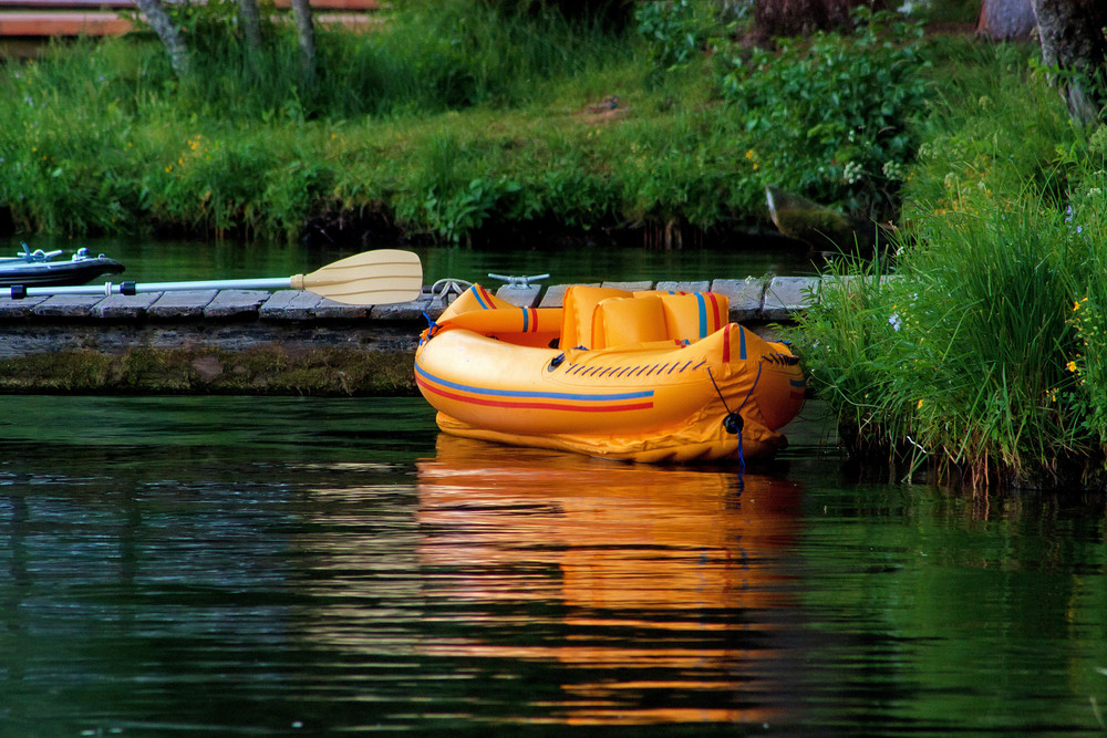 Inflatable Boat On Lake