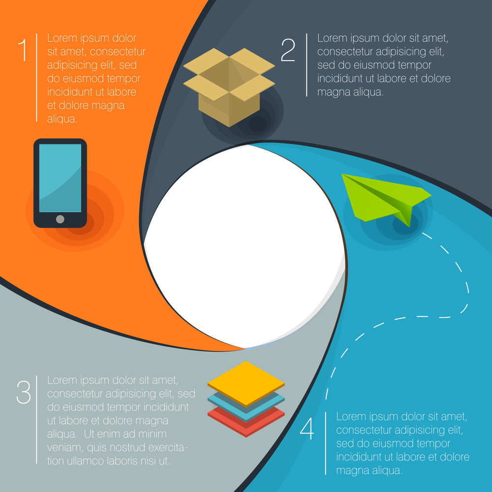 Infographic Circle Shape Vector Flat Design Template.