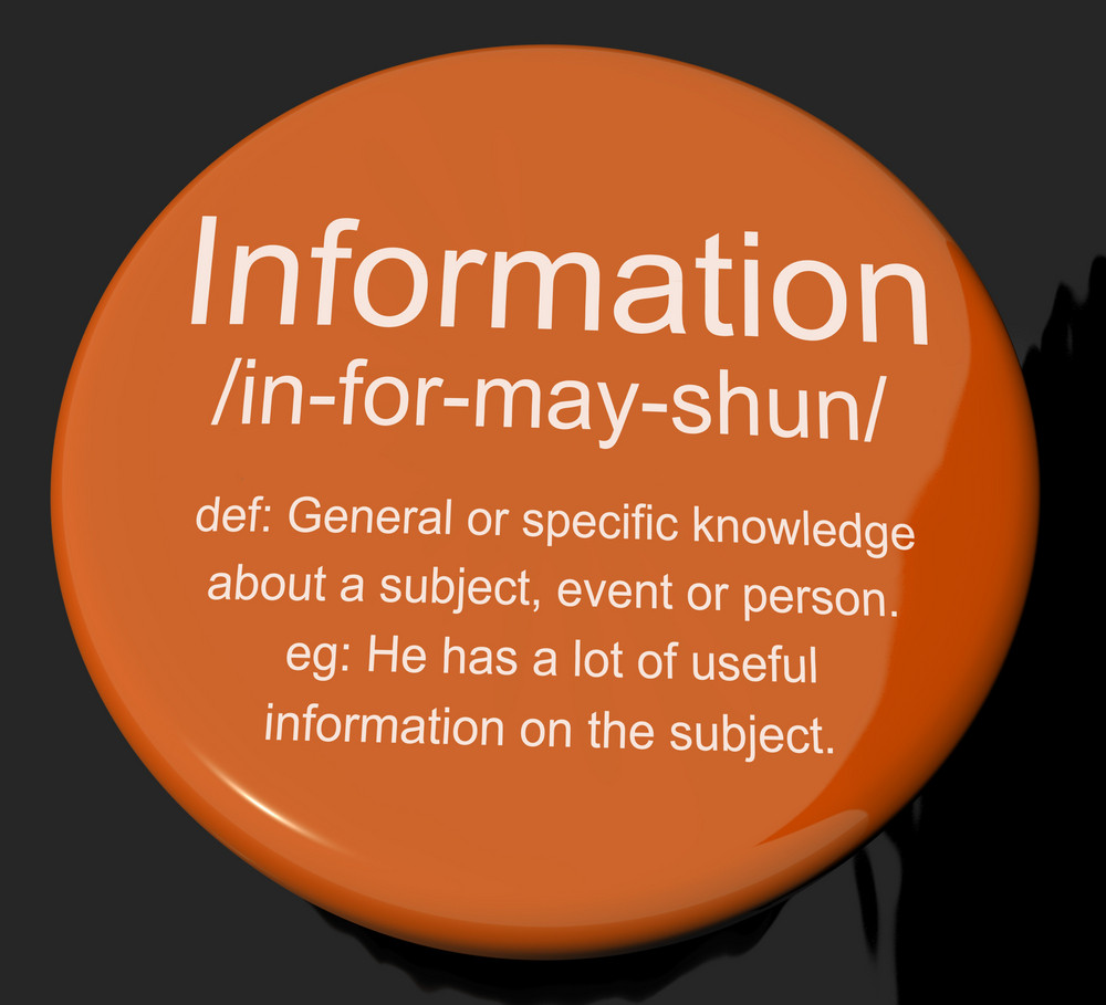 Information Definition Button Showing Knowledge Data And Facts