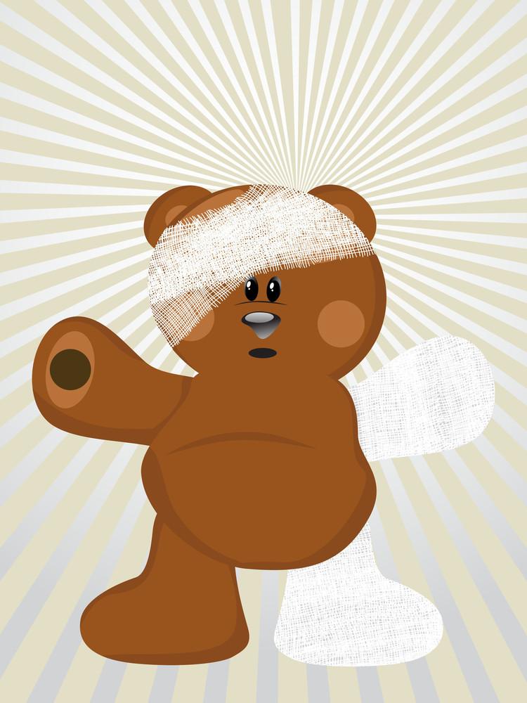 Injued Bear Vector Illustration
