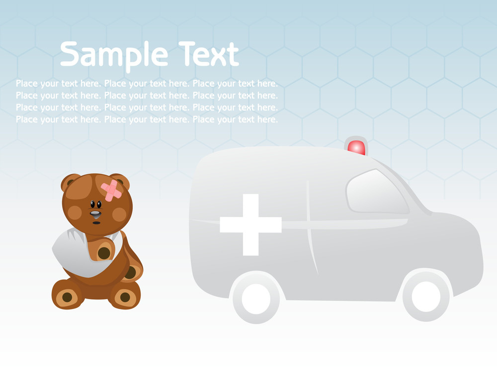 Injured Taddy And Ambulance Illustration