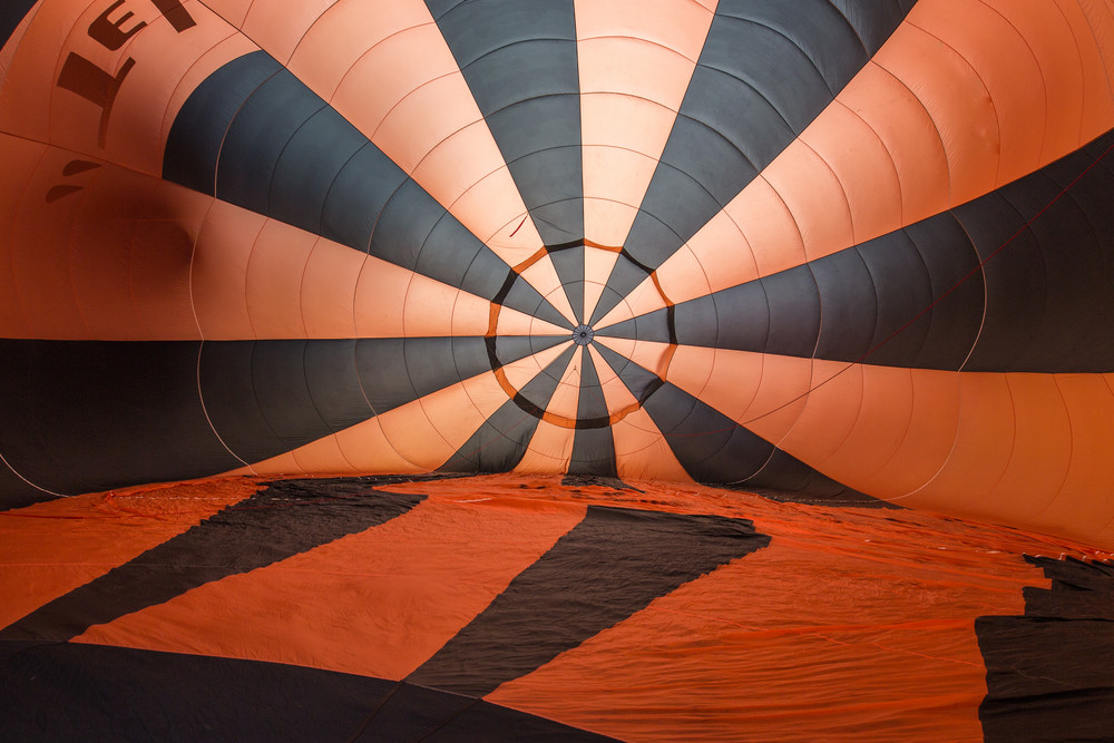 Inside hot air balloon prepare to fly