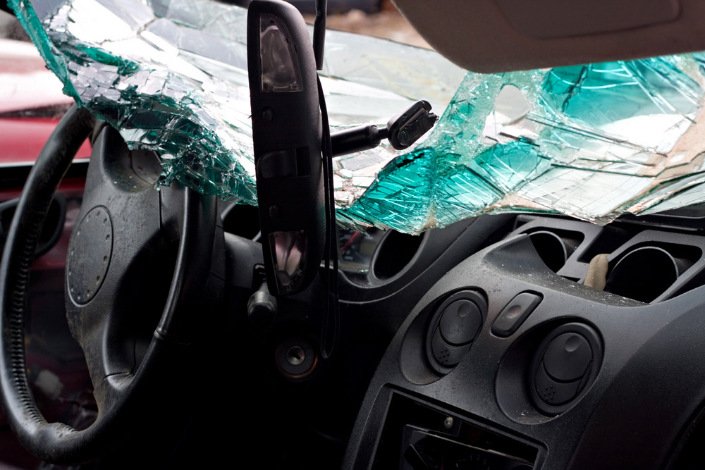 Inside interior view of a car that was in a bad accident.
