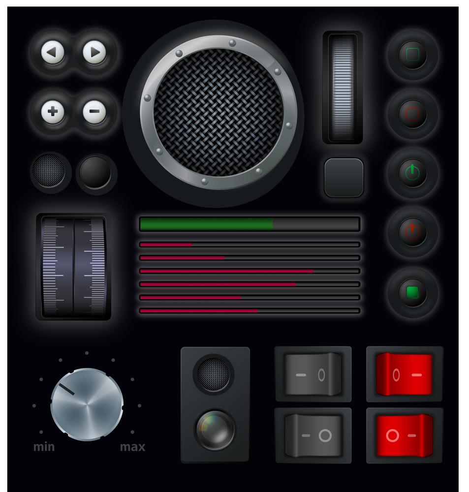 Interface Buttons. Vector.