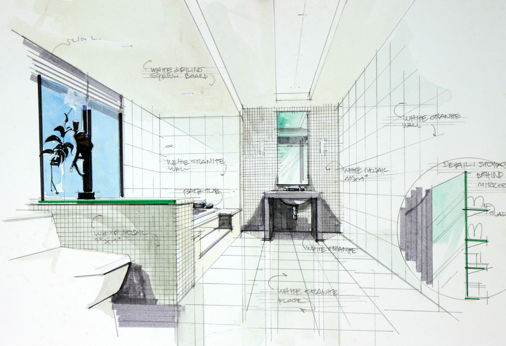 Interior Hand Drawn Perspective Of Bathroom