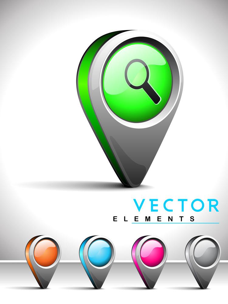 Internet Web 2.0 Icon With Search Symbol.