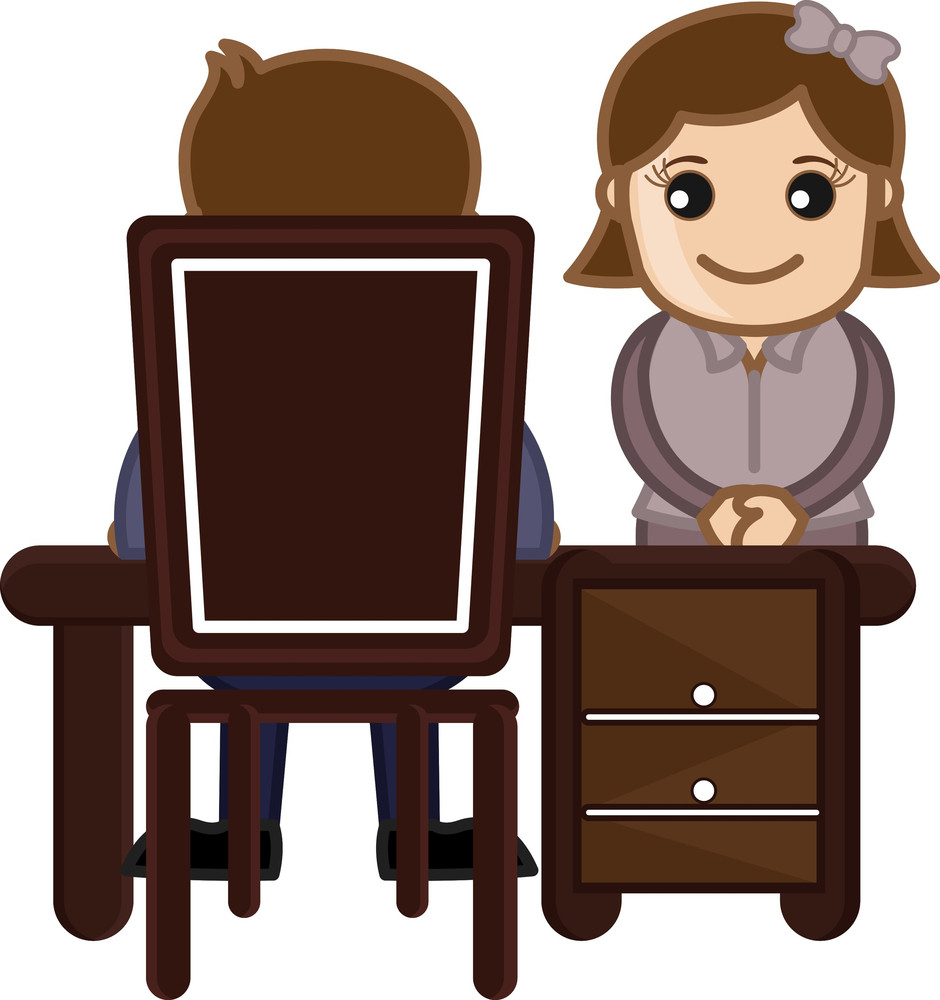 Interview Girl Candidate - Vector Character Cartoon Illustration