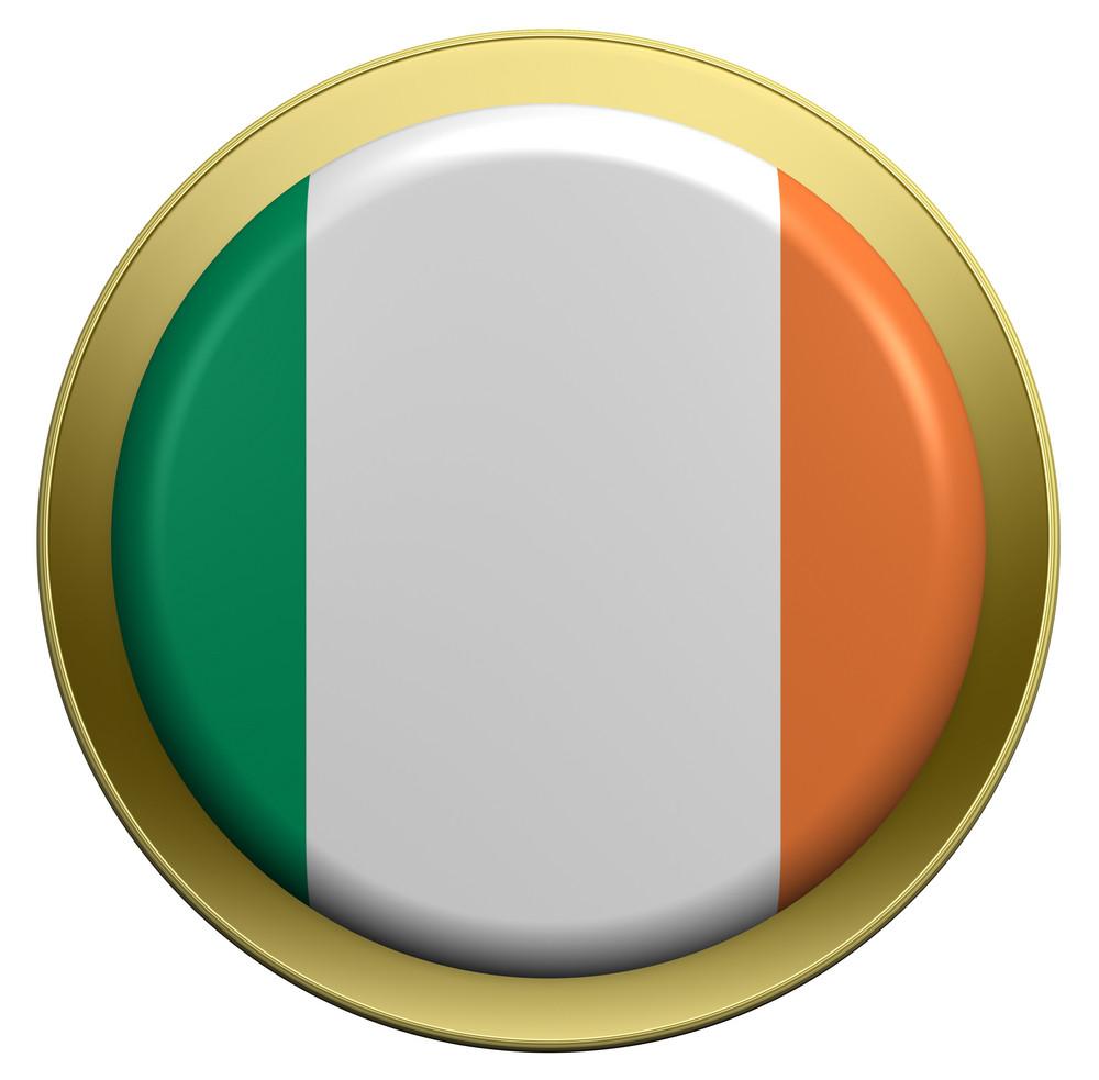 Ireland Flag On The Round Button Isolated On White.
