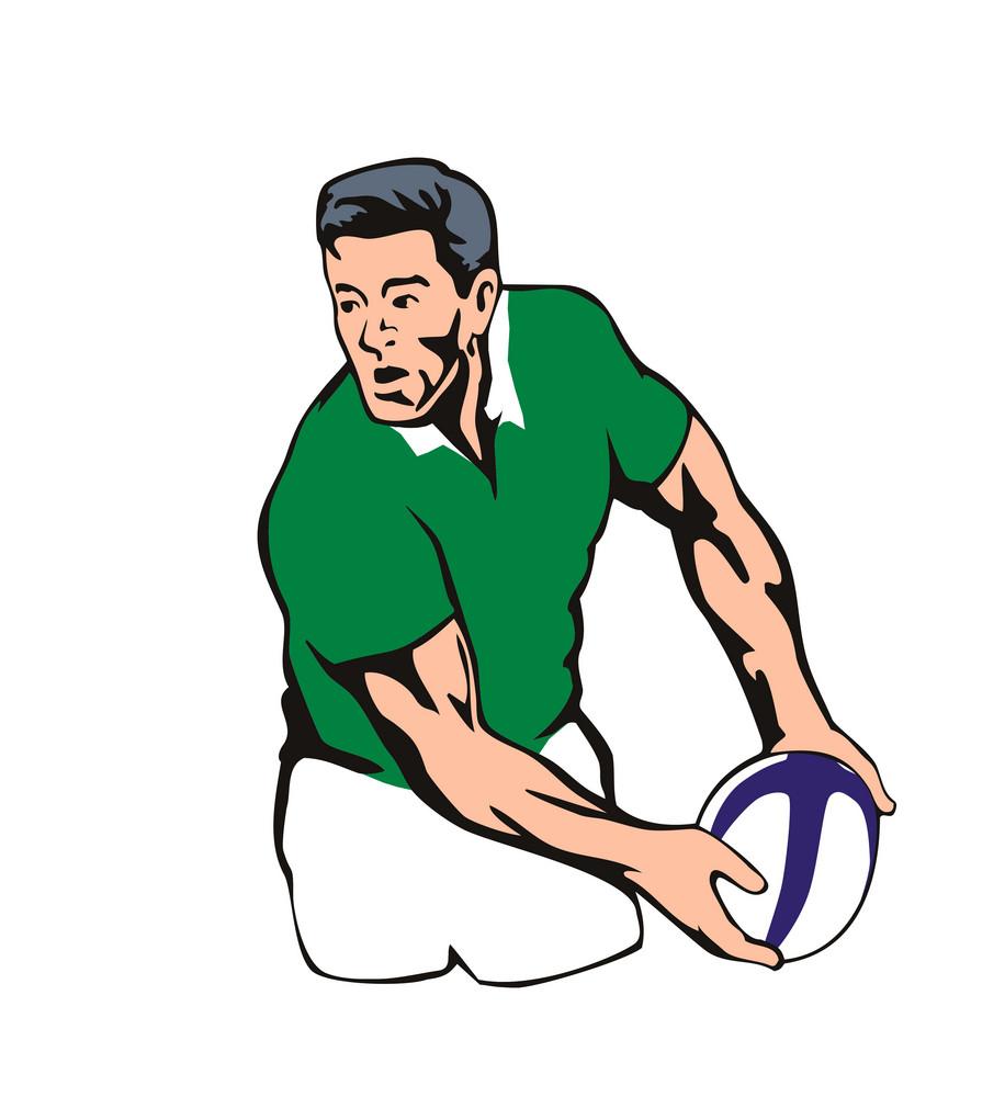 Irish Rugby Player Passing Ball