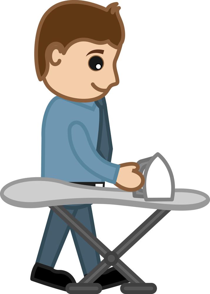 Ironing The Cloths - Vector Illustration