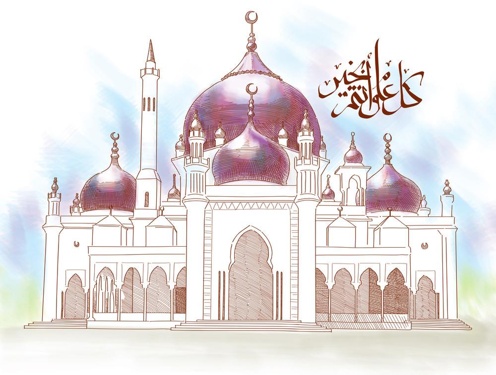 Islamic Illustration For Muslim Celebration. Text: Eid Mubarak