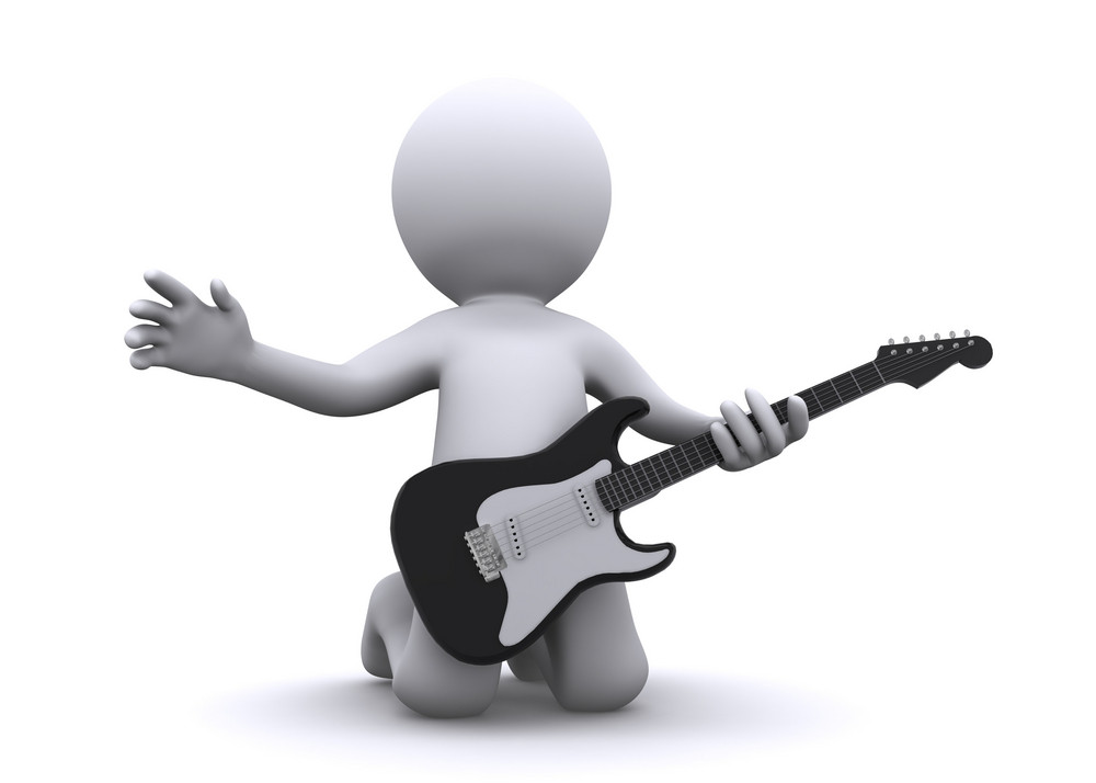 Isolated 3d Guitarist