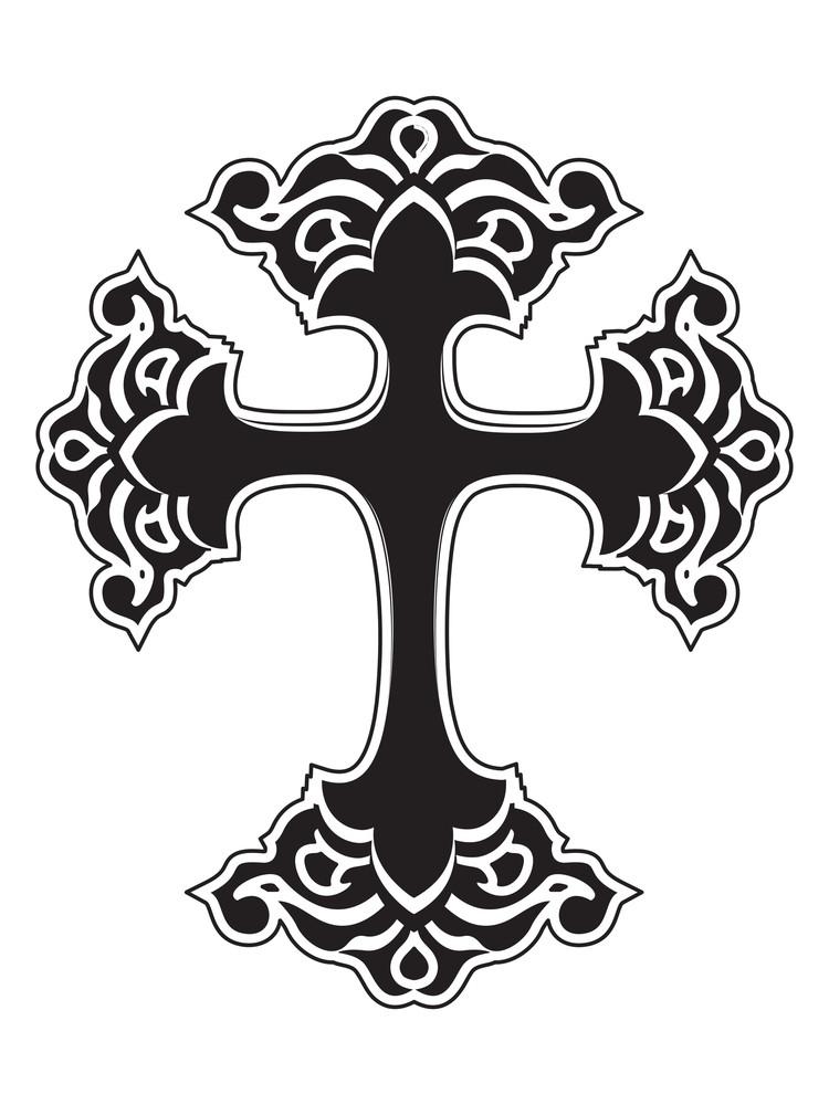 Isolated Black Cross On White Background
