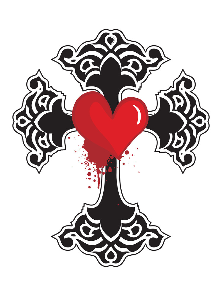 Isolated Black Cross With Grungy Red Heart