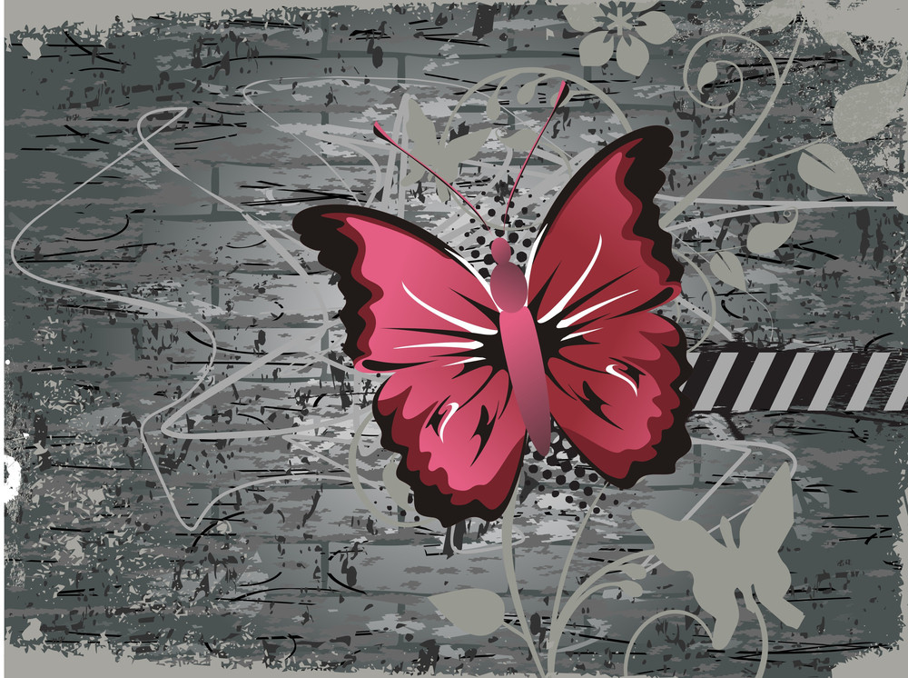 Isolated Butterfly With Grungy Background