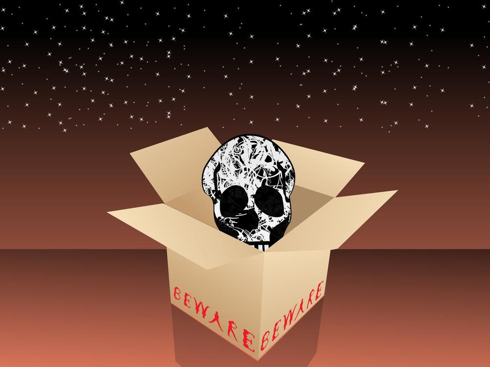 Isolated Cardboard Box In Skull