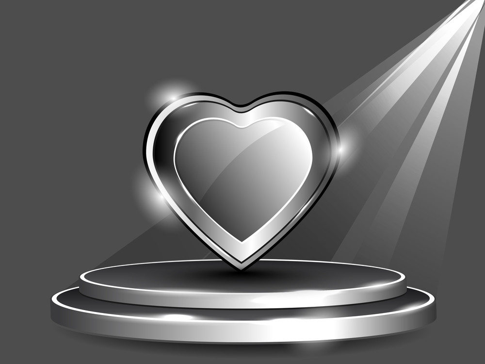 Isolated Creative Frame With Heart  Having On Display Shelf. Vector Illustration. Eps 10