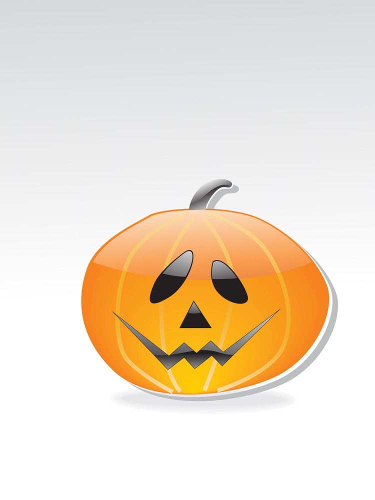 Isolated Glossy Halloween Pumpkin
