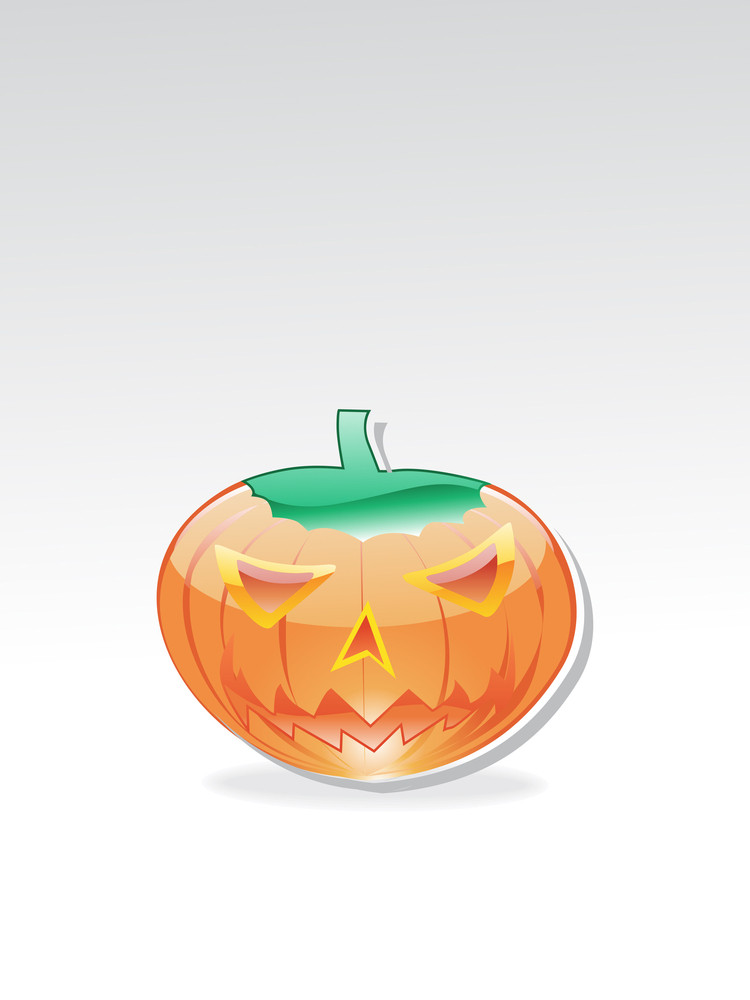Isolated Glossy Halloween Pumpkin