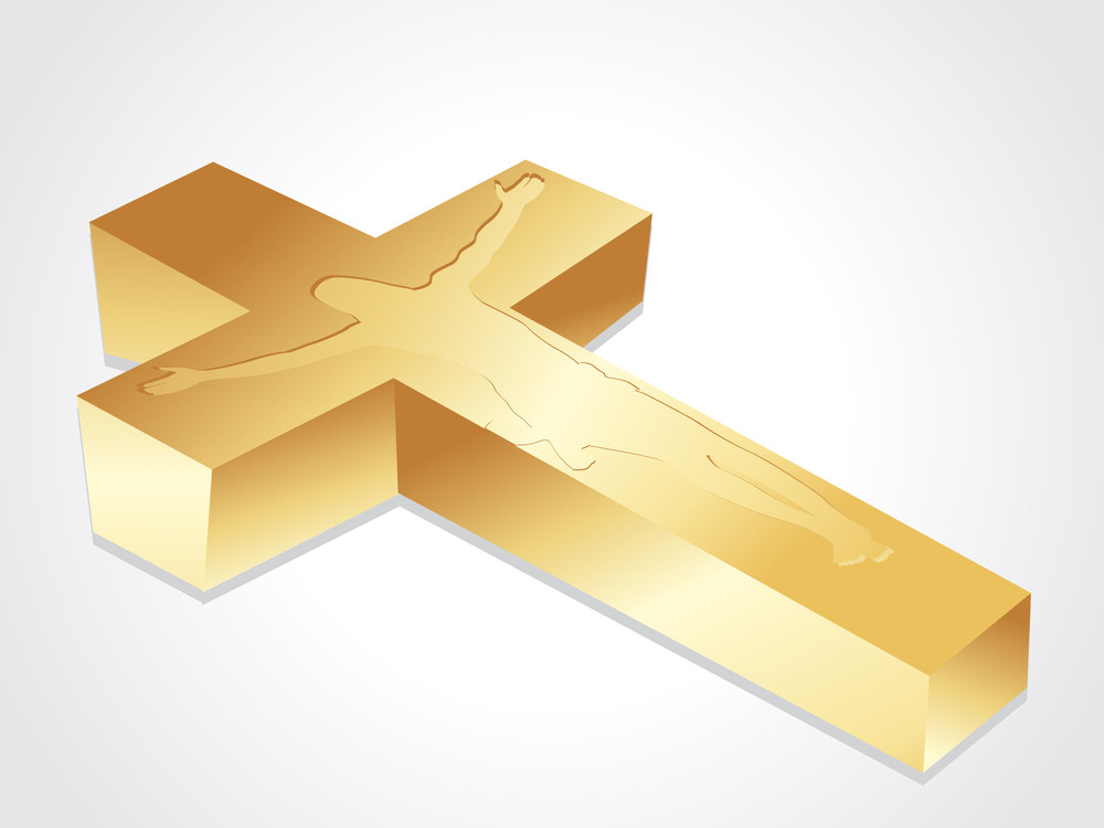 Isolated Golden Cross With Jesus Christ