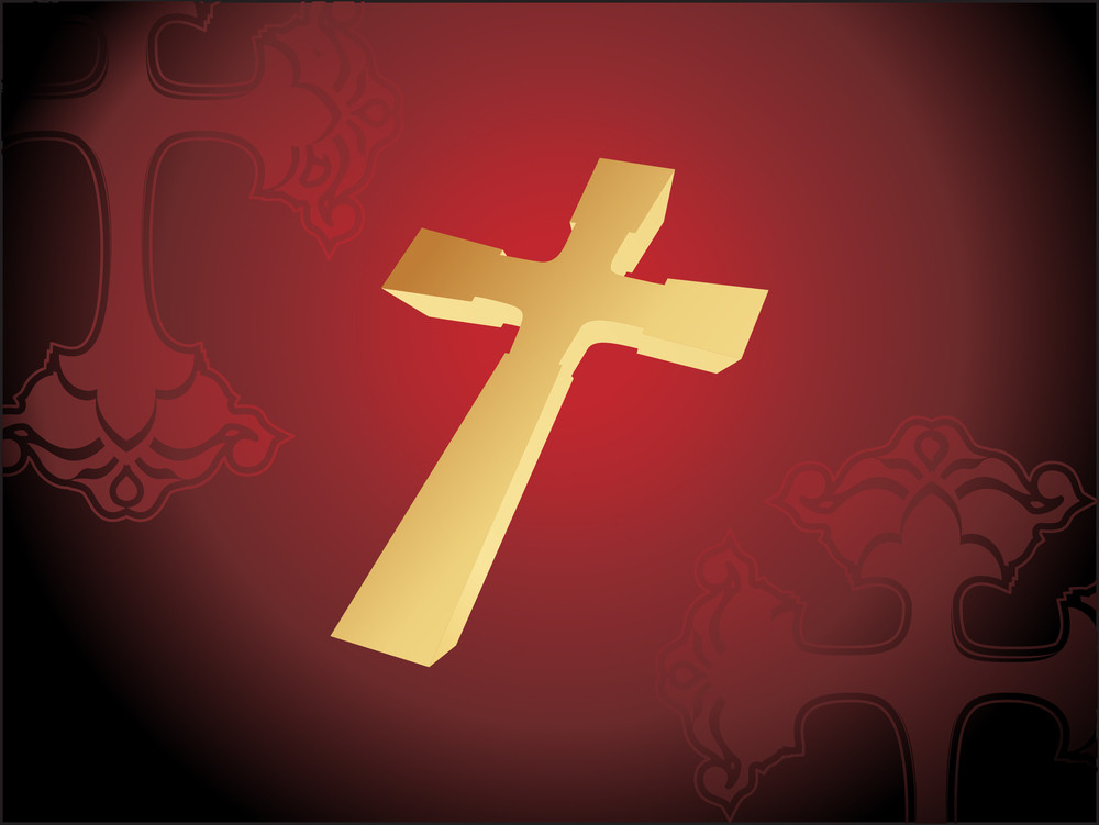 Isolated Golden Cross With Maroon Background