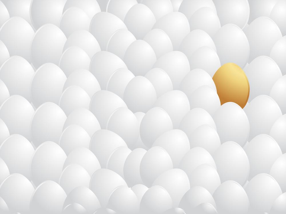 Isolated Golden Egg With White Egg Background