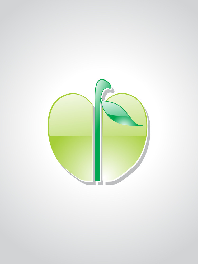 Isolated Green Apple With Background