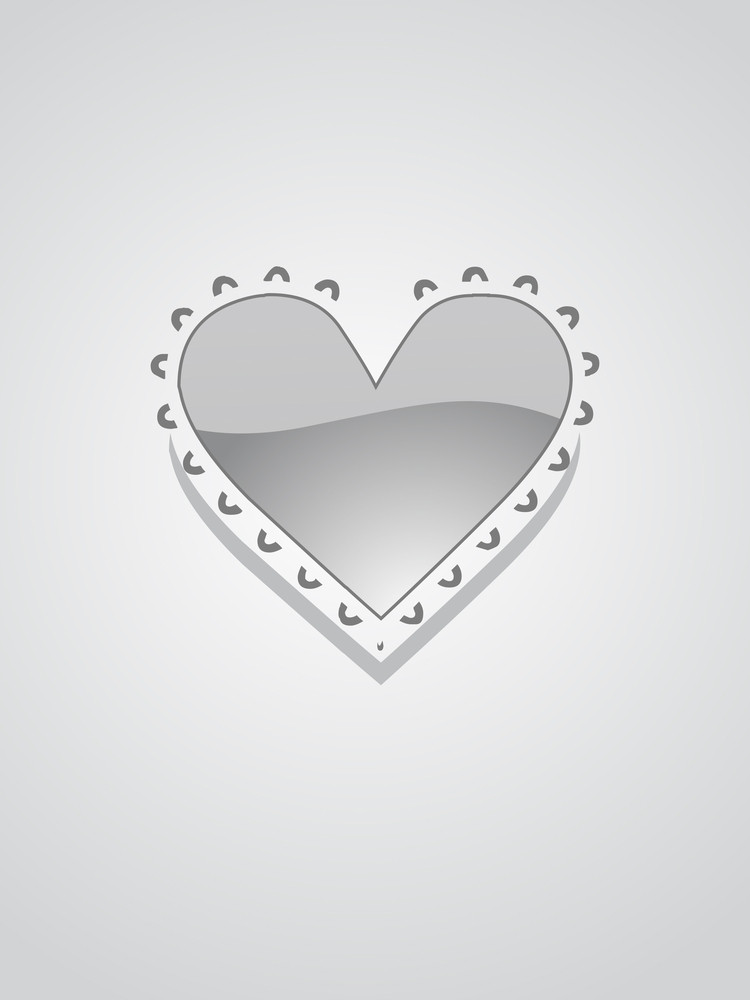 Isolated Grey Heart With Background