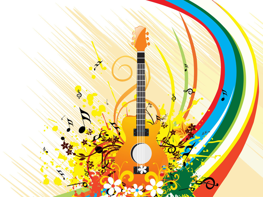 Isolated Guitar On Grungy Floral Background