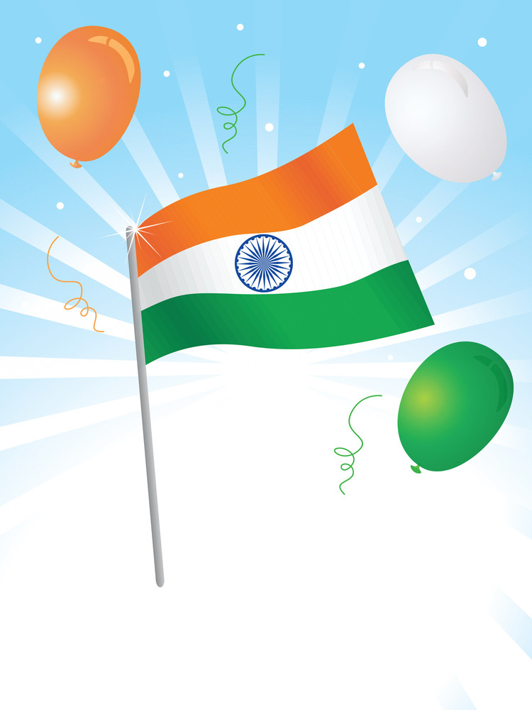 Isolated Indian Flag And Balloon Vector Wallpaper