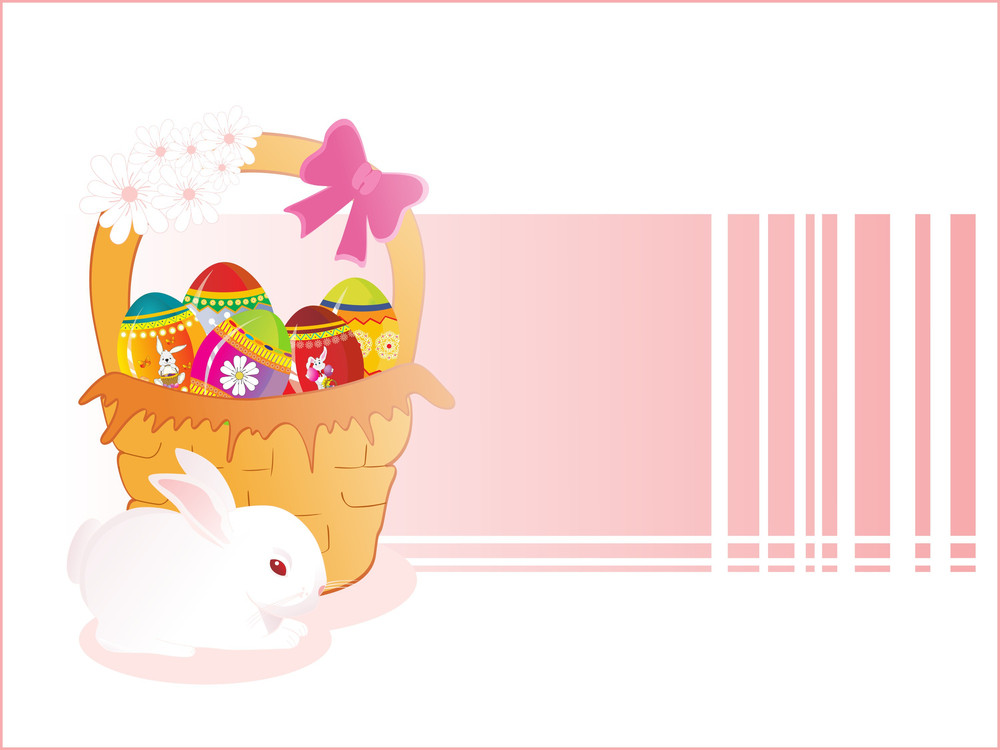 Isolated Rabbit With Decorated Egg Basket
