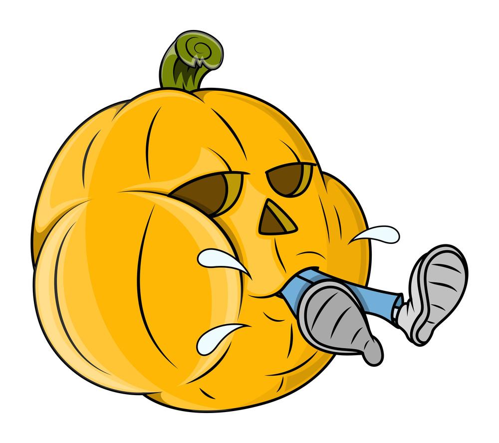 Jack O' Lantern Grabbed A Man - Funny Vector - Halloween Vector Illustration