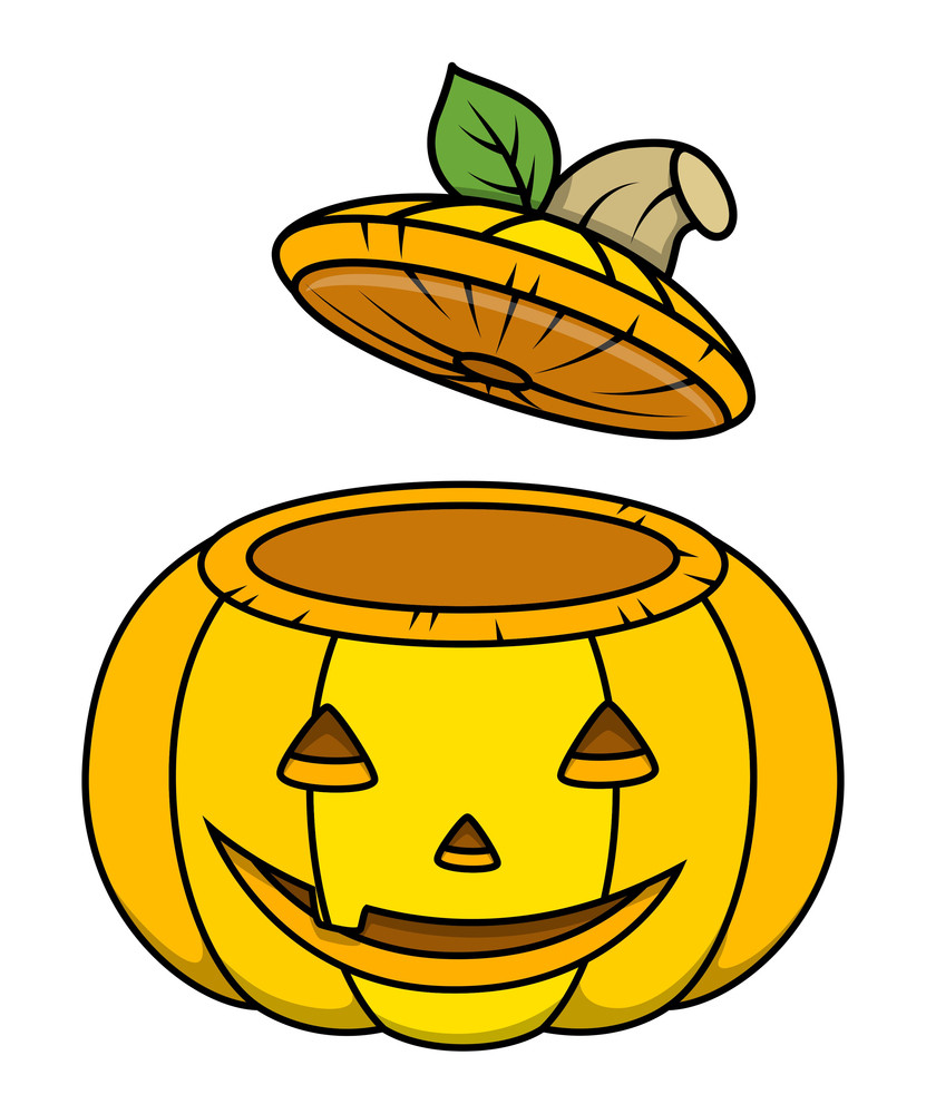 Jack O' Lantern Opened Container - Halloween Vector Illustration