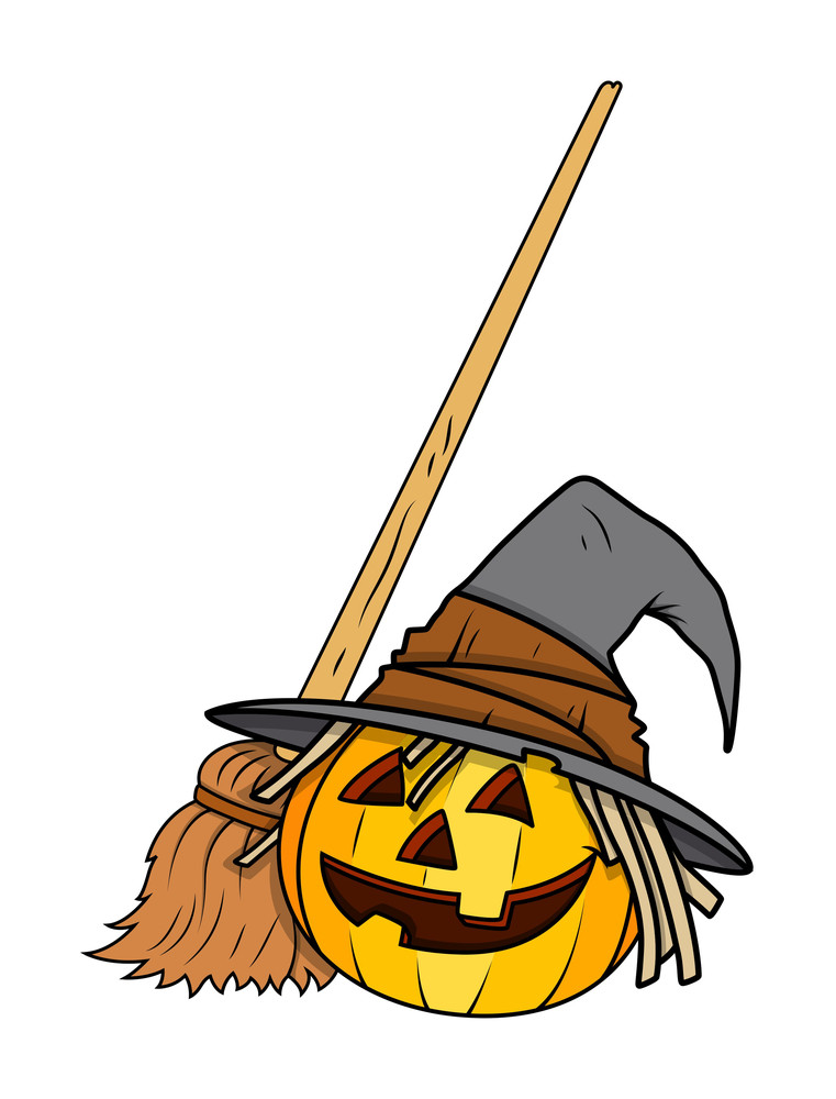 Jack O' Lantern With Witch Broom - Halloween Vector Illustration
