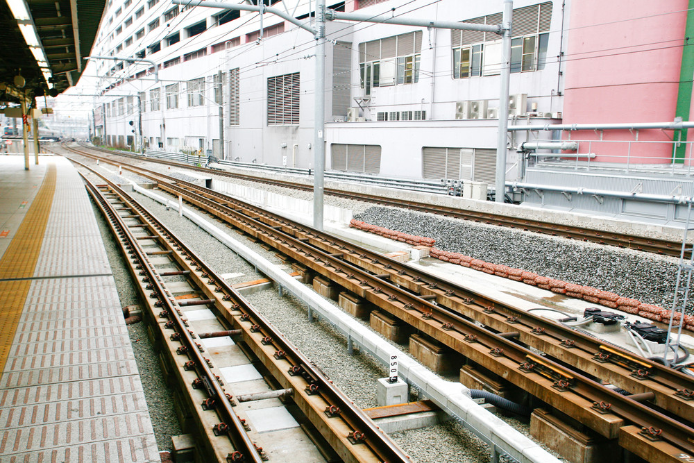 Japanese Railway tracks station