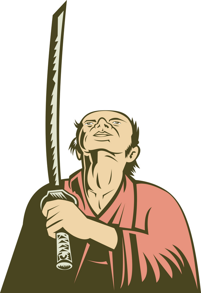 Japanese Samurai Warrior Looking Up Holding Sword