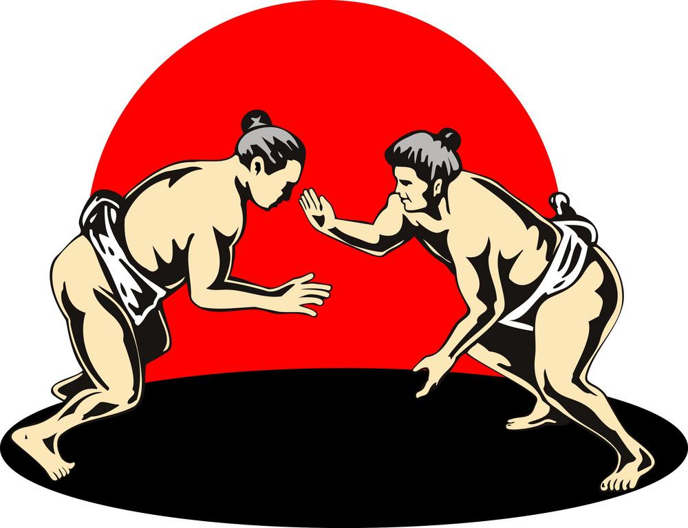 Japanese Sumo Wrestlers Fighting