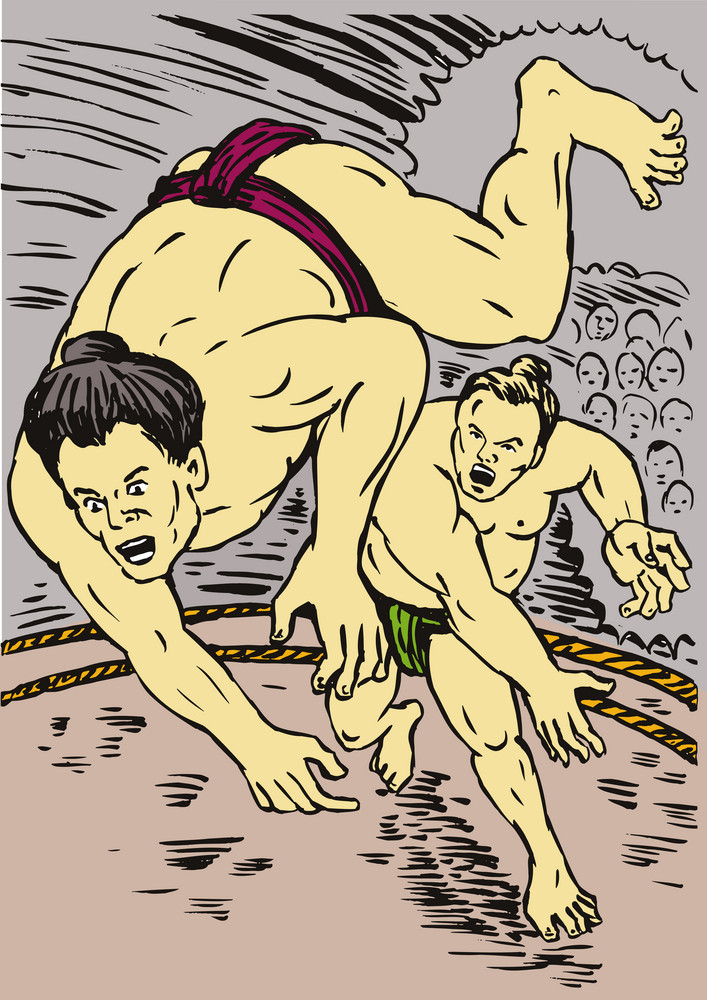 Japanese Sumo Wrestlers Throwing