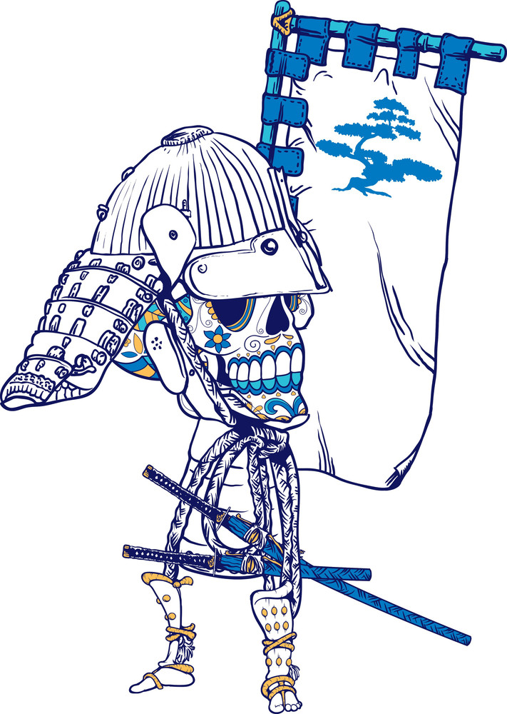 Japanese T-shirt Design With Sugar Skull