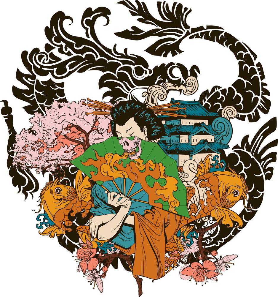 Japanese Vector T-shirt Design With Geisha