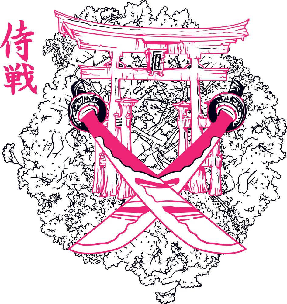 T shirt japanese design - Japanese Vector T Shirt Design With Swords