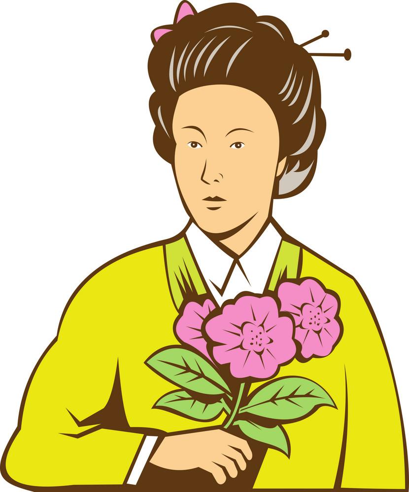 Japanese Woman In Kimono Holding Flowers