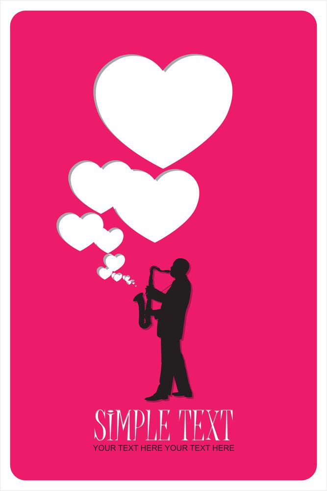 Jazzman And Hearts Vector Illustration.