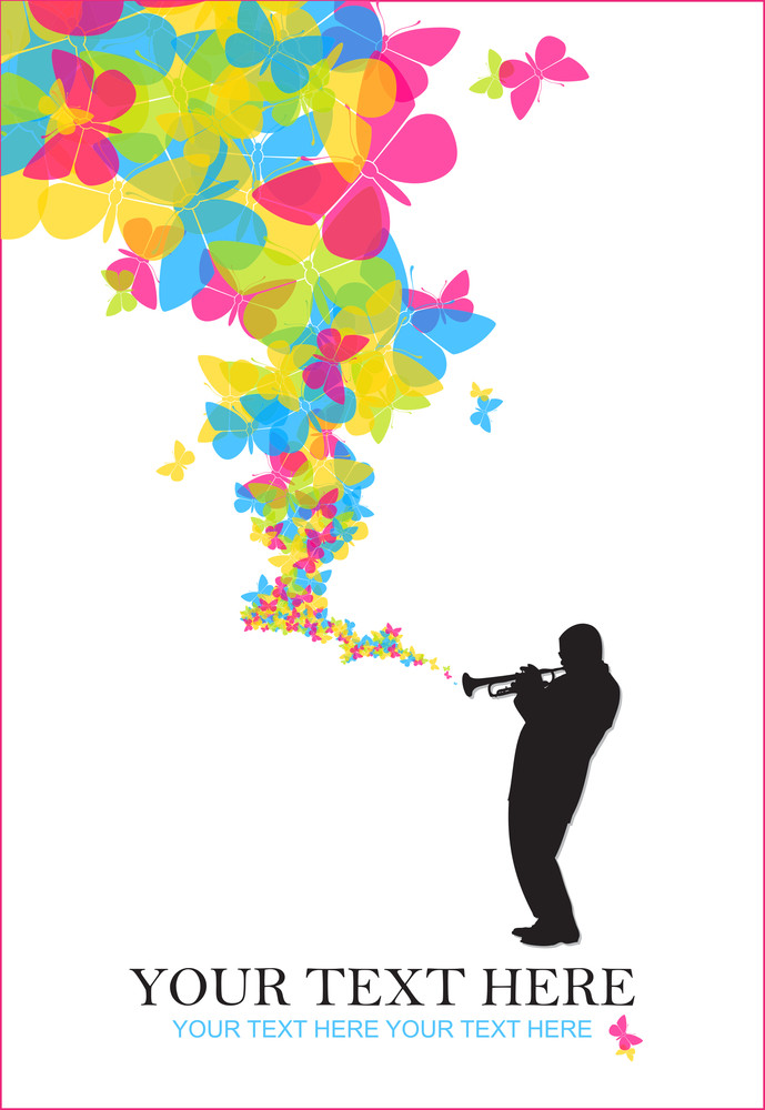 Jazzman With Butterflies Vector Illustration.